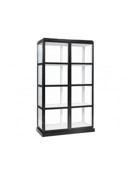 Vitrineskab i glas, med sort ydre og hvidt indre og 4 hylder fra Hübsch-20