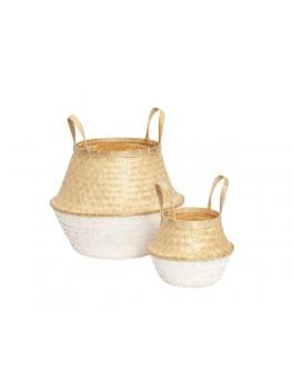 2 dråbeformede kurve i bambus med naturlig top og hvidfarvet bund fra Hübsch-20