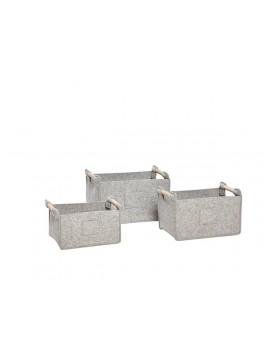 3 grå firkantede filtkurve med træhank fra Hübsch-20
