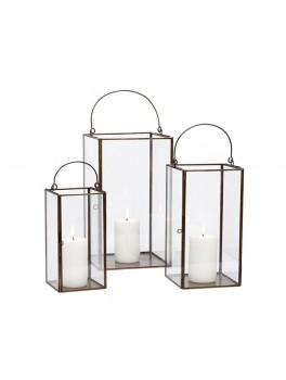 3 smukke glas lanterner i antik look med metal kant fra Hübsch-20