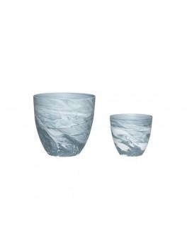 2 Fyrfadsstager i mørkegråt og hvidt mønstret porcelæn fra Hübsch-20