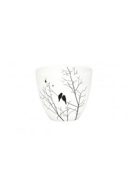 Fyrfadsstage i hvid porcelæn med fugle motiv fra Hübsch-20