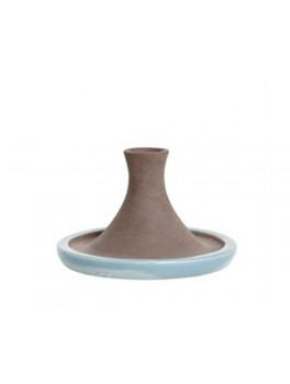 Lysestage i rustik naturfarvet og blå keramik fra Hübsch-20