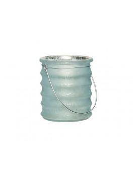 Fyrfadsglas med riller og hank i lyseblå fra Hübsch-20