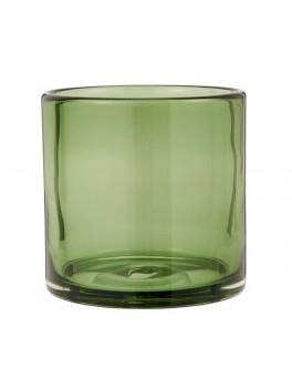 Fyrfadsstage i olivenfarvet glas, mundblæst fra Ib Laursen-20