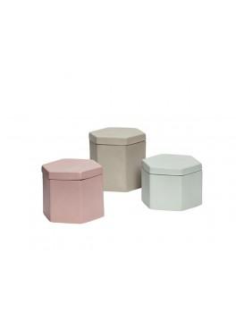 3 dåser i porcelæn med låg i farverne grøn, rosa og sand fra Hübsch-20
