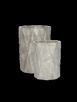 2 høje potter i gråt beton med mønstret finish fra Hübsch, Lille: Ø: 14 cm x H: 18 cm Stor: Ø: 16 cm x H: 22 cm-20