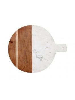 Rundt skærebræt i marmor og mangotræ fra Hübsch-20