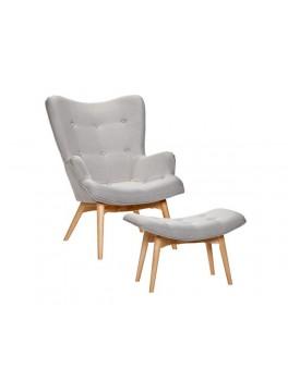 Lænestol i lysegråt stof med skammel fra Hübsch-20