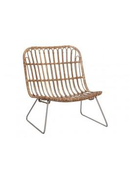 Loungestol i natur rattan med metalben fra Hübsch-20