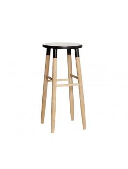 Barstol i egetræ med sort top fra Hübsch-20