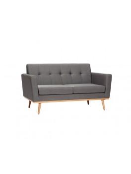 Mørkegrå sofa til to personer, med egetræsben fra Hübsch-20