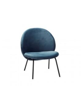 Lounge stol i blåt velour med sorte metal ben fra Hübsch-20
