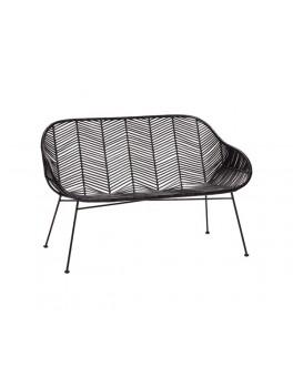 Sofa i sortfarvet rattan med metal ben fra Hübsch-20