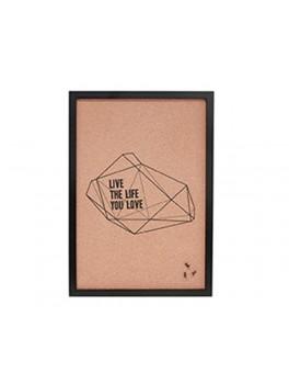 "Opslagstavle i kork, med sort ramme og teksten ""live the life you love"" fra Hübsch i størrelse, 40 cm x 2 cm x 47 cm-20"