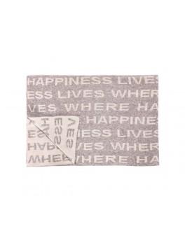 """Plaid i lammeuld med teksten """"where happiness lives"""" fra Hübsch i størrelse, 130 cm x 170 cm-20"""