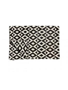 Plaid i bomuld med sort hvidt mønster fra Hübsch i størrelse, 130 cm x 170 cm-20
