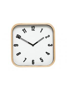 Firkantet ur i hvid med træramme fra Hübsch-20