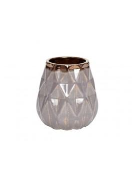 Vase i mørkegrå med mønster og bronze kant i størrelse medium, fra Hübsch-20
