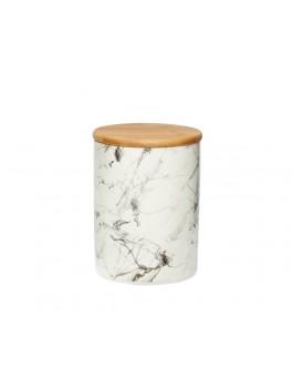 Krukke i keramik med marmor mønster med låg fra Hübsch-20