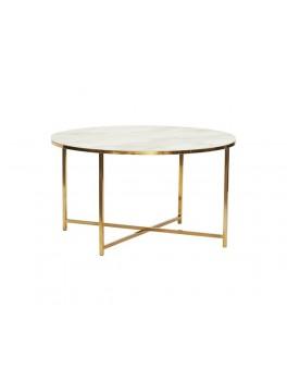 Rundt sofabord i metal/glas, hvid/messing fra Hübsch-20