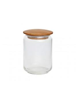 Opbevaringsglas med træ låg fra Hübsch-20