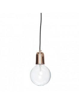 Lampe i kobber med sort ledning fra Hübsch-20