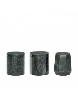 3 opbevaringsdåser i grønt marmor med låg fra Hübsch-20