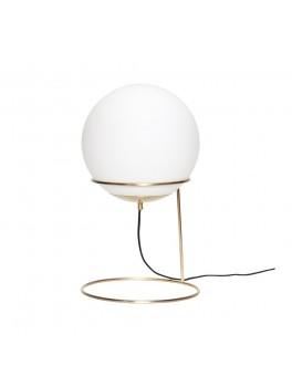 Gulvlampe i messing/hvid, metal/glas fra Hübsch-20