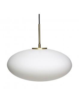 Lampe med glas i hvid/messing fra Hübsch-20
