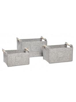 3 grå firkantede filtkurve med træhank fra Hübsch UDSTILLINGSMODEL-20