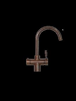 Taurus 3-1 med kogende vand inkl. kalkfilter i bruneret kobber med rund tud fra AKVATUR-20