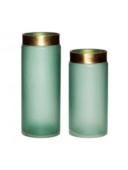 Glass vase i grøn/guld s/2 fra Hübsch-20