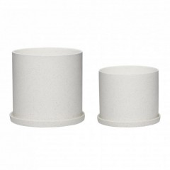Potte i hvid keramik fra Hübsch - Sæt med 2