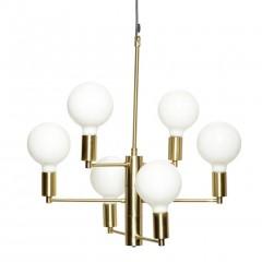 Lampe m/pære, LED i messing/glas med sort ledning fra Hübsch