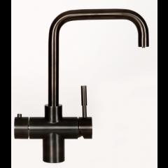 Taurus 4-1 med kølet vand og danskvand i sort med firkantet tud fra AKVATUR
