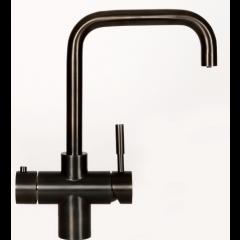 Taurus 4-1 med kogende vand og kølet vand inkl. kalkfilter i sort med firkantet tud fra AKVATUR