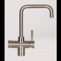 Taurus 5-1 med kogende vand, kølet vand og danskvand inkl. kalkfilter i børstet stål med firkantet tud fra AKVATUR