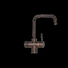 Taurus 5-1 med kogende vand, kølet vand og danskvand inkl. kalkfilter i bruneret kobber med firkantet tud fra AKVATUR