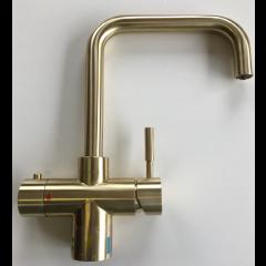 Taurus 5-1 med kogende vand, kølet vand og danskvand inkl. kalkfilter i messing med firkantet tud fra AKVATUR