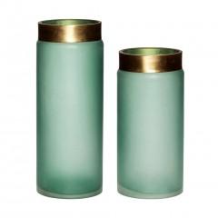 Glass vase i grøn/guld s/2 fra Hübsch